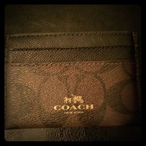Coach brown card holder